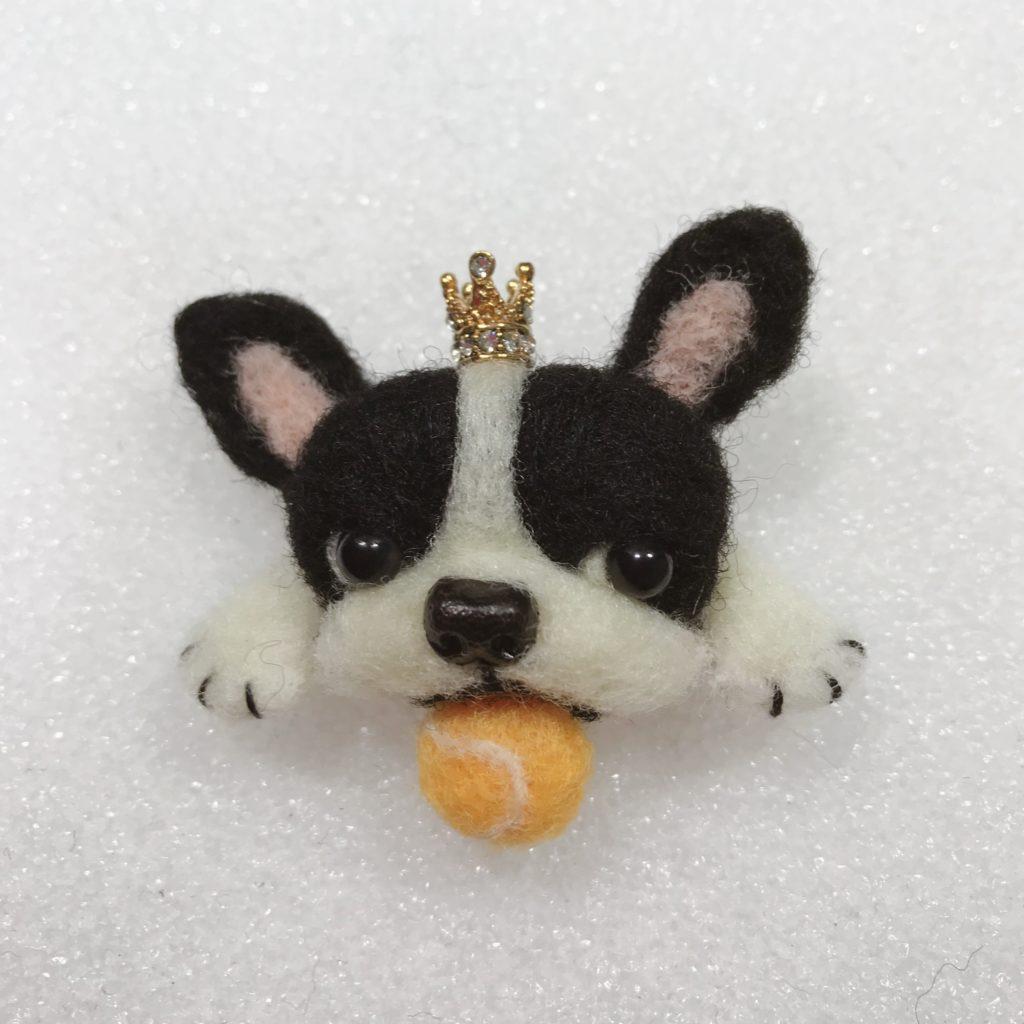 羊毛フェルト フレンチブルドック 犬 テニス