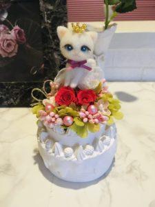 羊毛フェルト 猫とお花